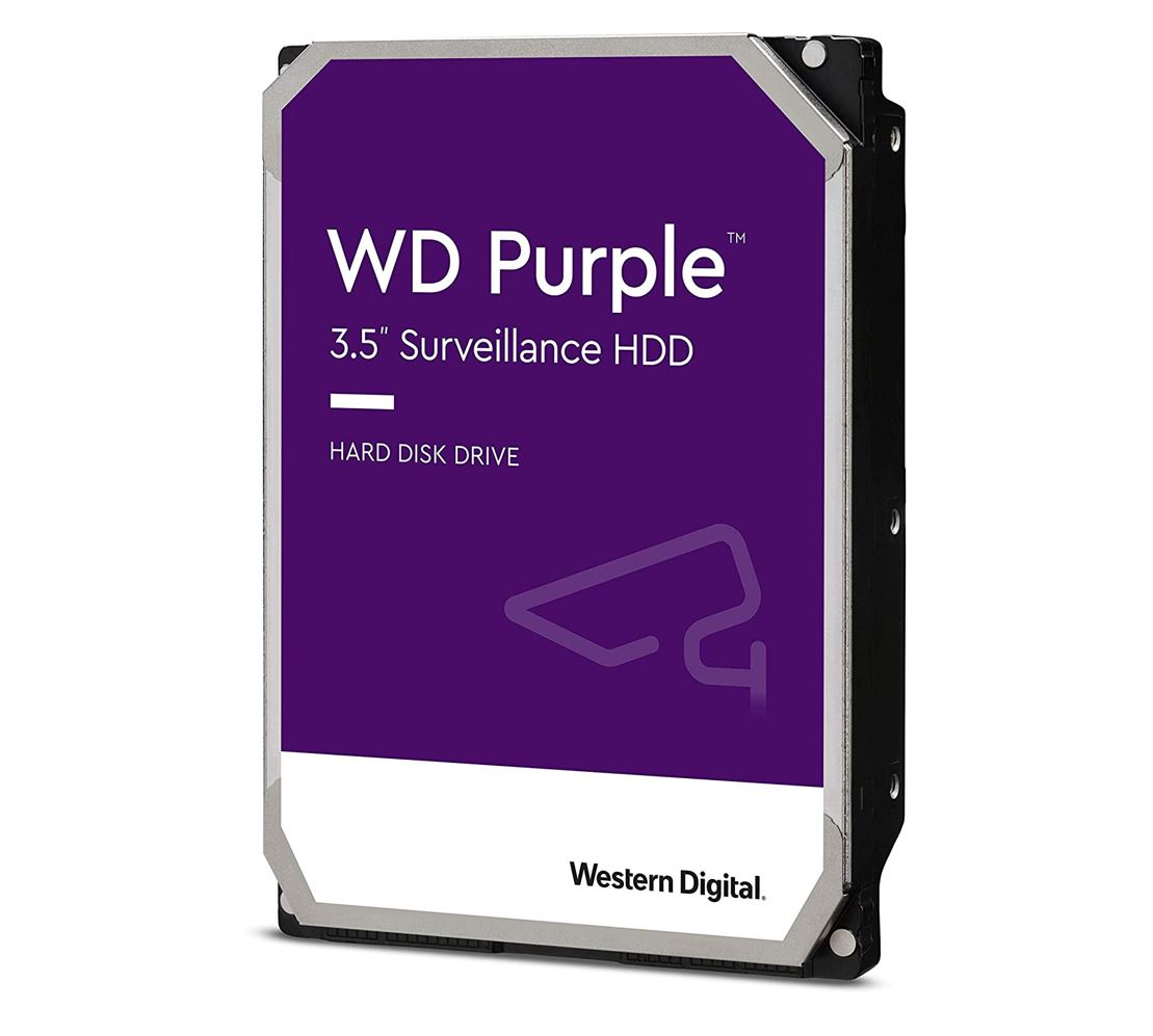 Western Digital WD Purple 1TB 3.5' Surveillance HDD 5400RPM 64MB SATA3 6Gb/s 110MB/s 180TBW 24x7 64 Cameras AV NVR DVR 1.5mil MTBF 3yrs