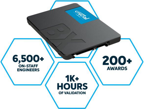 Crucial BX500 480GB 2.5' SATA3 6Gb/s SSD - 3D NAND 540/500MB/s 7mm 1.5 mil MTBF 3yr wty Acronis True Image Solid State Drive