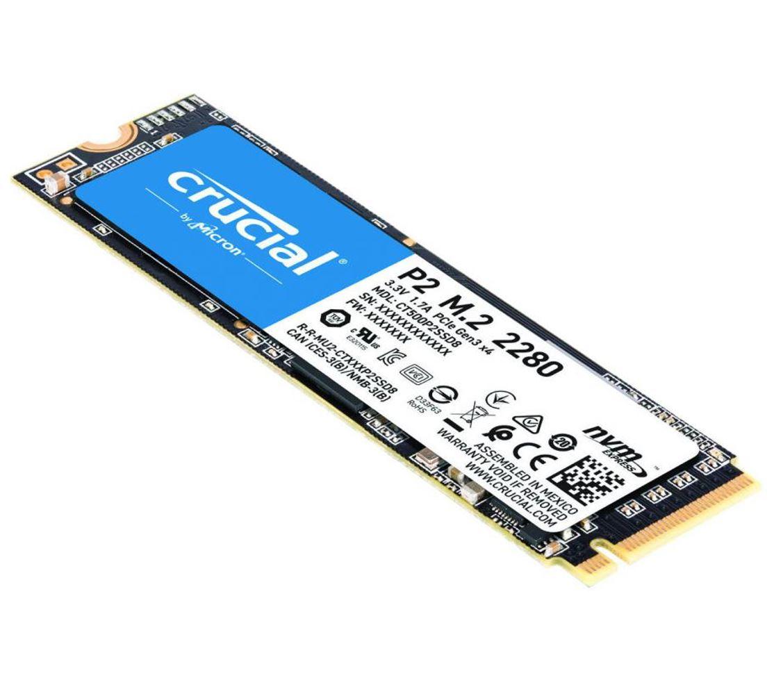 Crucial P2 500GB M.2 (2280) NVMe PCIe SSD - QLC NAND 2300/940 MB/s 300TBW 1.5mil hrs MTBF SMART  TRIM Acronis True Image Cloning 5yrs