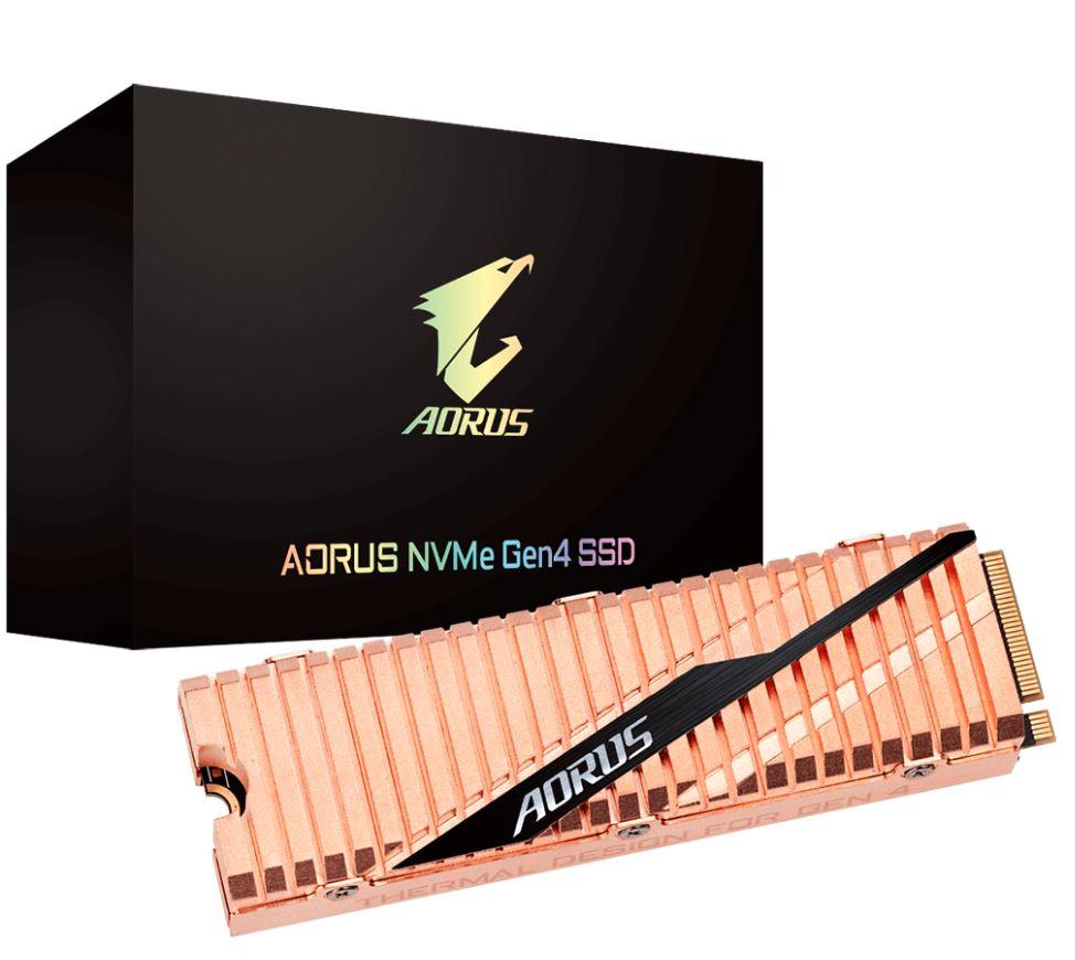 Gigabyte AORUS M.2 PCIe NVMe Gen4 SSD 500GB - 5000/2500 MB/s 400K/550K IOPS 3D NAND TLC 1.77 Mil MTBF 5yrs Wty TRIM SMART Wear Leveling Over Provision