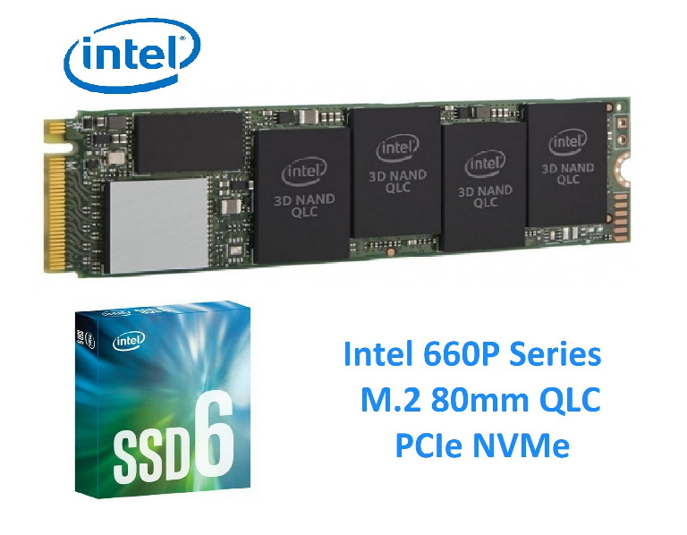 Intel 660P NVMe PCIe M.2 SSD 512GB 3D2 QLC 1500R/1000W MB/s 90K/220K IOPS 1.6 Million Hours MTBF Solid State Drive 5yrs Wty