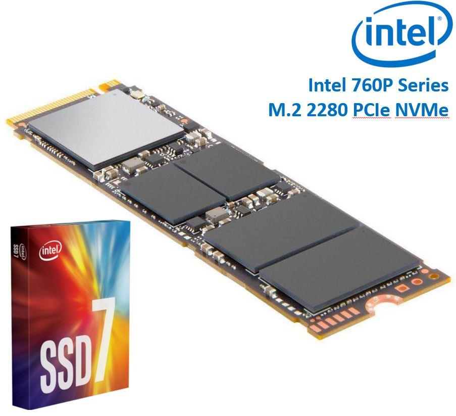 Intel 760P Series M.2 80mm 1000GB 1TB SSD 3D2 TLC PCIe NVMe 3230/1625MB/s 340K/275K IOPS 1.6 Million Hours MTBF Solid State Drive 5yrs