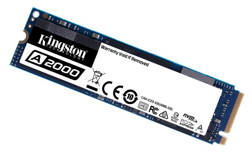 Kingston A2000 250GB M.2 NVMe PCIe SSD - 3D NAND 2000/1100MB/s 150/180K IOPS 150TBW XTS-AES 256-bit Encryption 2M hrs MTBF 5yr wty