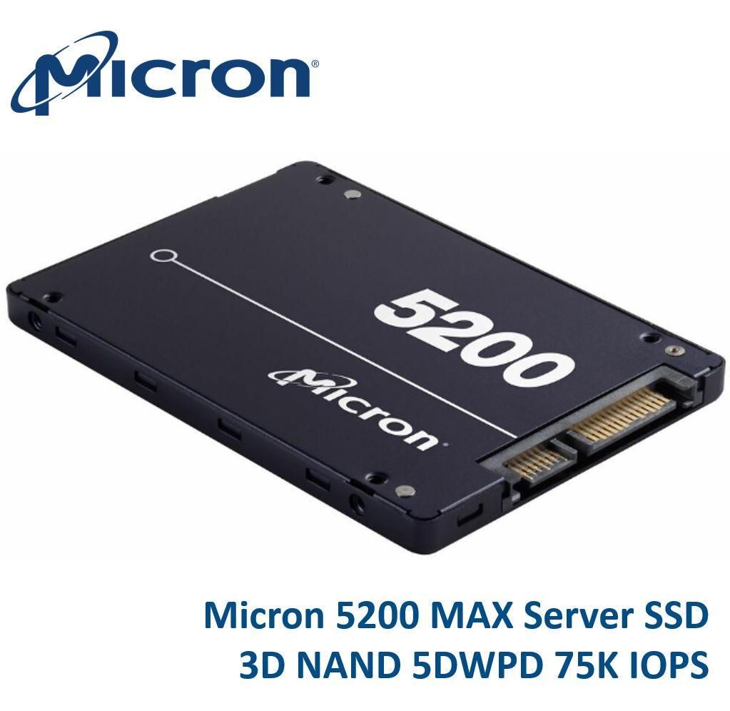 Micron 5200 MAX 1.92TB 2.5' SATA3 6Gbps 5DWPD SSD 3D TLC NAND 540R/520W MB/s 95K/70K IOPS 7mm Server Data Centre 3 Mil hrs 5yrs Crucial