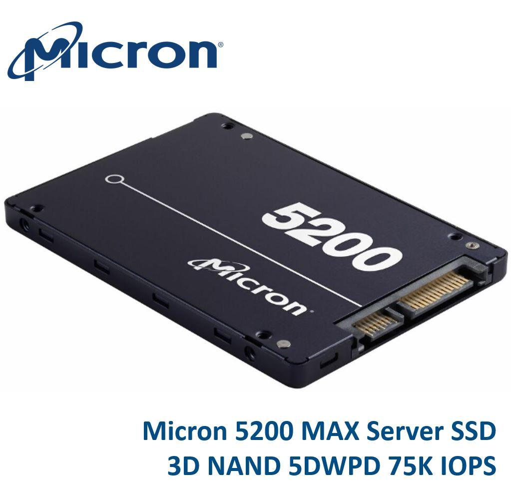Micron 5200 MAX 480GB 2.5' SATA3 6Gbps 5DWPD SSD 3D TLC NAND 540R/460W MB/s 93K/70K IOPS 7mm Server Data Centre 3 Mil hrs 5yrs LS