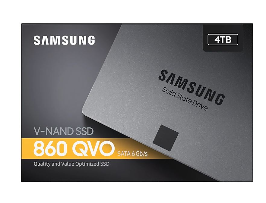 Samsung 860 QVO 4TB,V-NAND, 2.5'. 7mm, SATA III 6GB/s, R/W(Max) 550MB/s/520MB/s, up to 1,440TBW, 3 Years Warranty