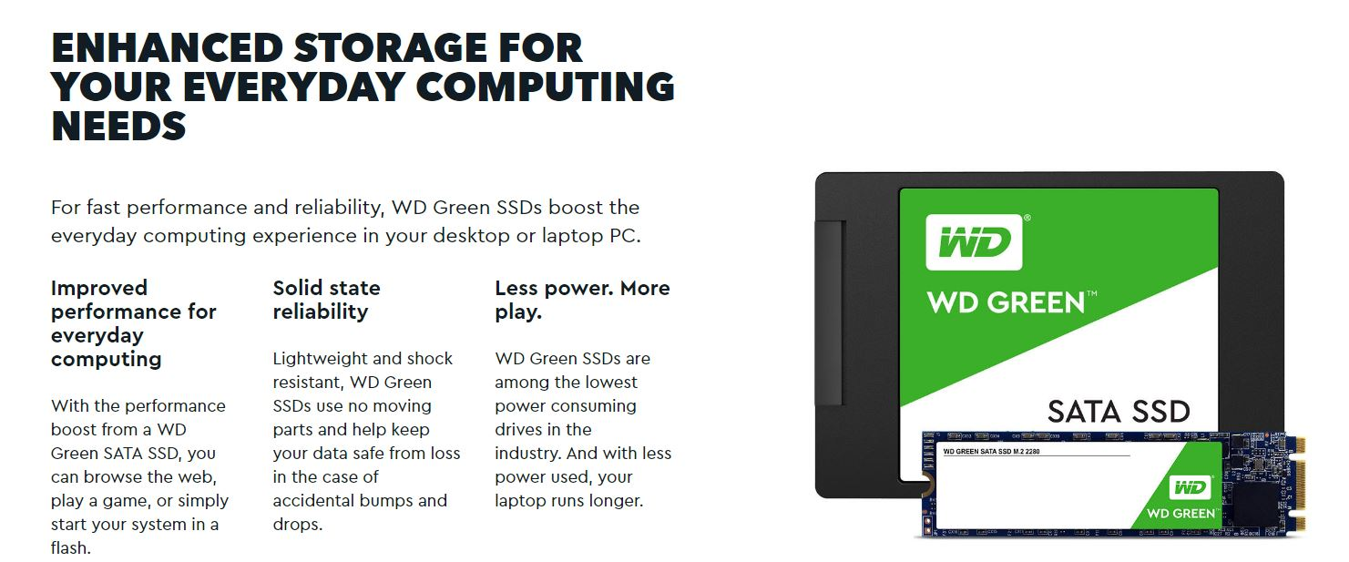 Western Digital Green 480GB M.2 2280 SSD Transfer speeds up to 545MB/s - 3 Years Limited Warranty