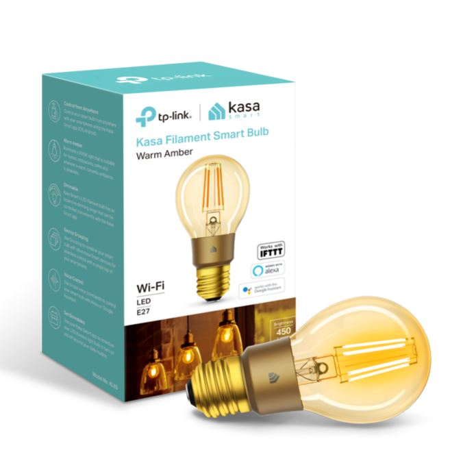 TP-Link KL60 Kasa Filament Smart Bulb, Warm Amber, Edison Screw, Dimmable, No Hub Required, Voice Control, 2000K, 5kWh/1000h, 2.4 GHz, 2 Year Warranty