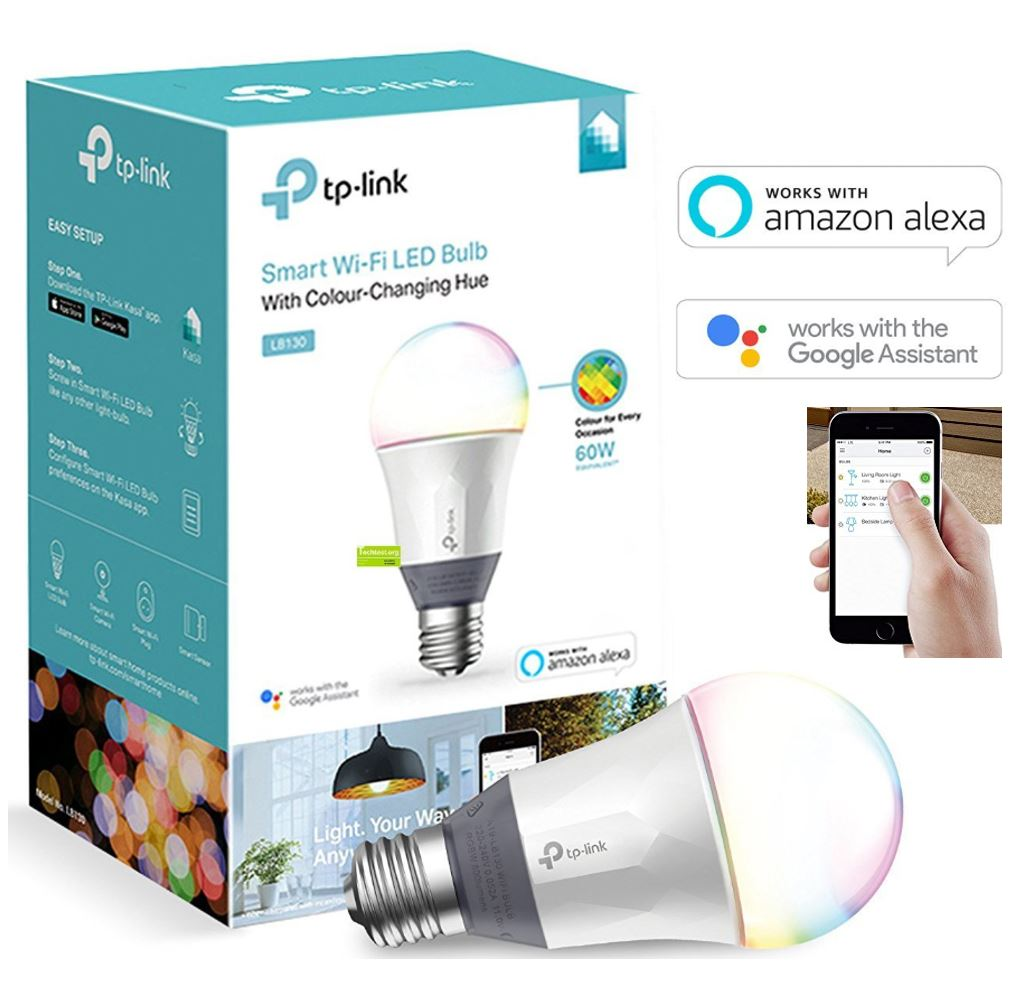 TP-Link LB130 Smart Wi-Fi LED Light Bulb RGB Multicolour Dimmable A19 800lm 2500K-9000K 11W 240V 180 Degree iOS Android Google Assistant Amazon Alexa