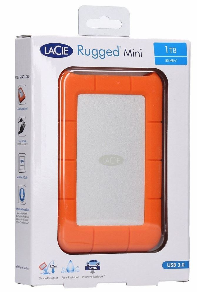 Seagate 1TB LaCie Rugged Mini Portable USB 3.0, USB-C Cable. External HDD LAC301558, 2 Years Warranty