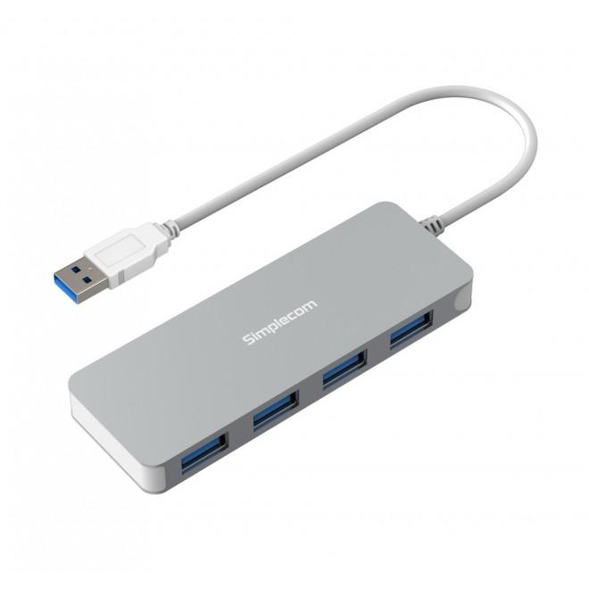 Simplecom CH319 Ultra Slim Aluminium 4 Port USB 3.0 Hub for PC Mac Laptop - Silver