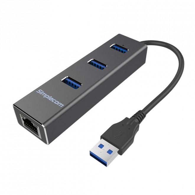 Simplecom CHN410 Black Aluminium 3 Port USB 3.0 HUB with Gigabit Ethernet Adapter 1000Mbps for PC MAC - CBAT-USBCLAN