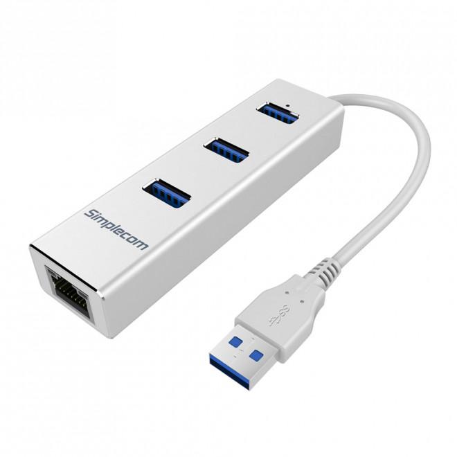 Simplecom CHN410 Silver Aluminium 3 Port USB 3.0 HUB with Gigabit Ethernet Adapter 1000Mbps for PC MAC - CBAT-USBCLAN