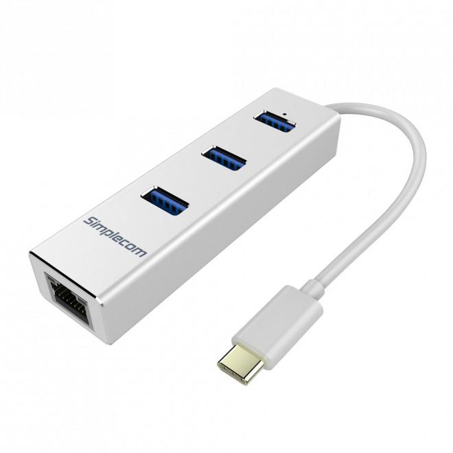 Simplecom CHN411 Silver Aluminium USB Type C to 3 Port USB 3.0 Hub with Gigabit Ethernet Adapter - CBAT-USBCLAN