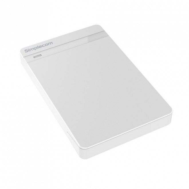 Simplecom SE203 Tool Free 2.5' SATA HDD SSD to USB 3.0 Hard Drive Enclosure - White Enclosure