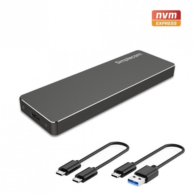 Simplecom SE503 NVMe PCIe (M Key) M.2 SSD to USB 3.1 Gen 2 Type C Enclosure 10Gbps - DVA-ESD-S1C-BLK