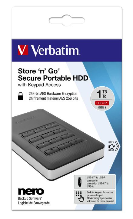Verbatim Store 'n' Go Secure Portable HDD with Keypad Access 1TB - Black