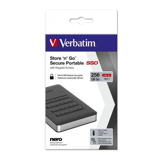 Verbatim USB 3.1 Store'n'Go Secure SSD w/Keypad Access 256GB - Black