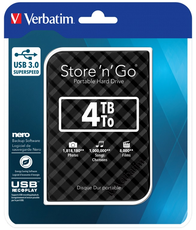 Verbatim 4TB 2.5' USB 3.0 Black Store'n'Go HDD Grid Design