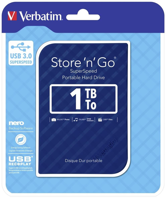 Verbatim 1TB 2.5' USB 3.0 Blue Store'n'Go HDD Grid Design
