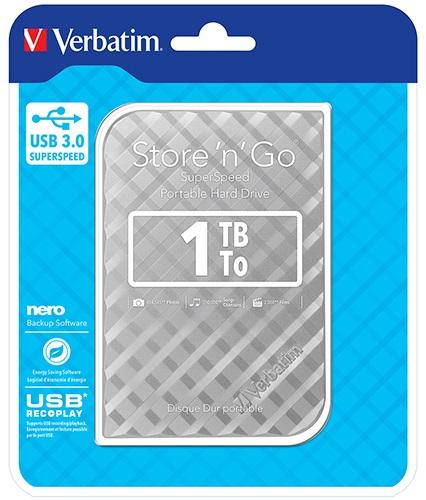 Verbatim 1TB 2.5' USB 3.0 Silver. Store'n'Go HDD Grid Design