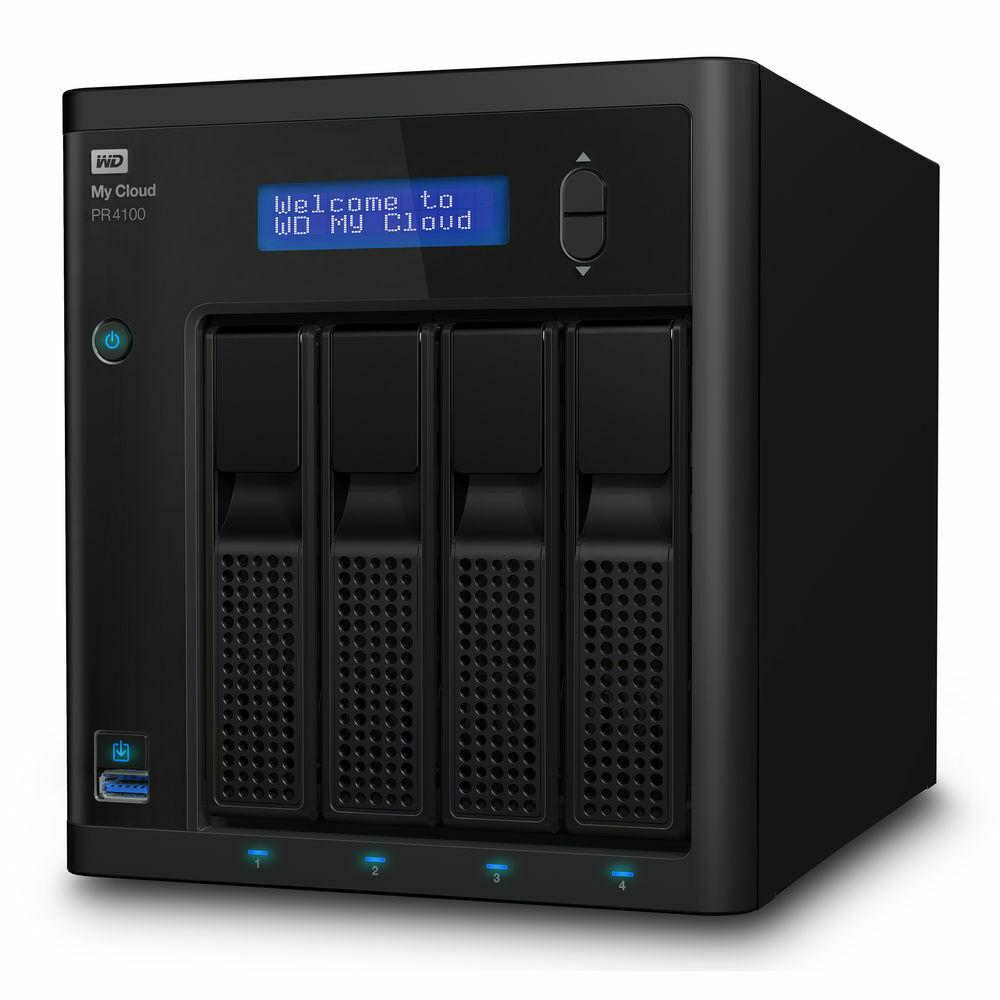 Western Digital My Cloud Pro PR4100 24TB NAS Pentium N3710 Quad-Core 4GB RAM RAID 3xUSB3.0 2xGbE LAN Auto Backup Sync 256 AES Encrypt Windows MAC