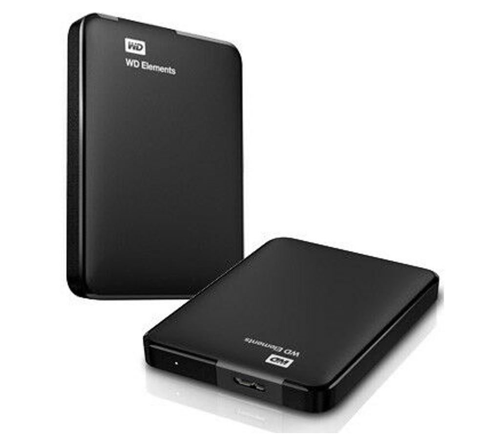 Western Digital WD Elements Portable 2TB USB 3.0 2.5' External Hard Drive - Slim Light Durable Shock Proof Black Plug  Play NTFS for Windows 10/8.1/7
