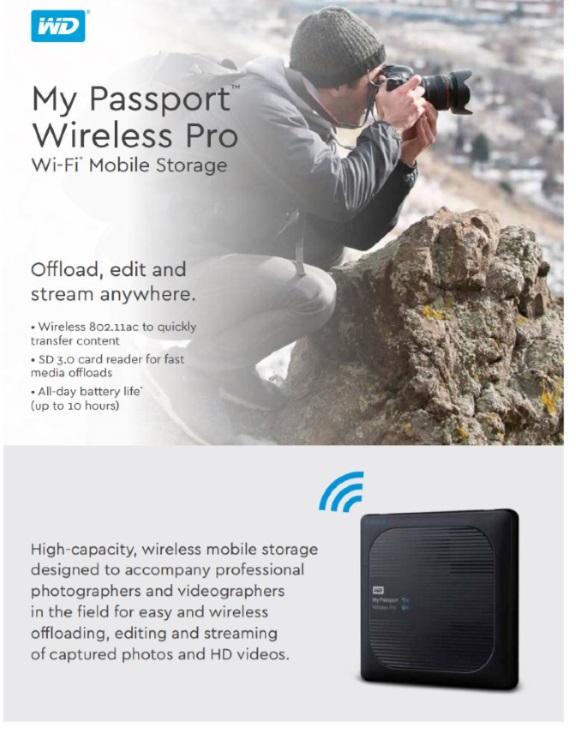 WD My Passport Wireless Pro 1TB Wi-Fi mobile storage, USB3.0, Wireless AC, SD Card slot,PowerBank - Black. 2 Years Warranty