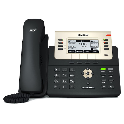 Yealink T27G 6 Line IP phone, 240x120 LCD, 21 Program keys/BLF/XML/PoE/HDV/EHS support/Dual Gigabit Ports. No Power Adapter included