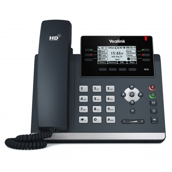 Yealink T41S  Skype Business 6 Line IP phone, 2.7'192x64 pixel graphical LCD with backlight, 2x 10/100 Ports, 6 Program keys/BLF/XML/HDV, 1x USB Port,