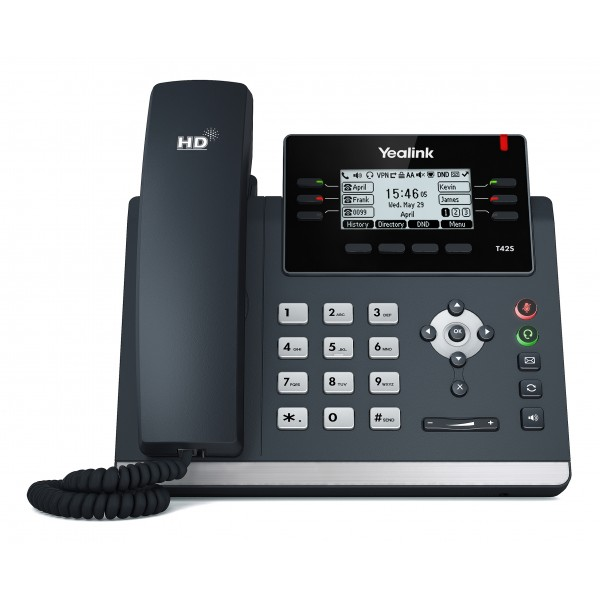Yealink T42S 12 Line IP phone, 2.7'192x64 pixel graphical LCD with backlight, Dual Gigabit Ports, 6 Program keys/BLF/XML/HDV, 1x USB Port, Opus Suppor
