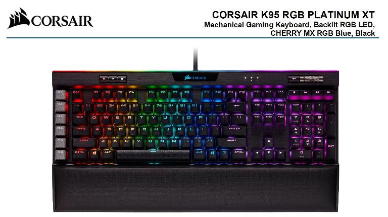Corsair K95 RGB PLATINUM XT, Cherry MX Blue, Dynamic Per-Key RGB Backlighting with 19-Zone LightEdge, Mechanical Gaming Keyboard