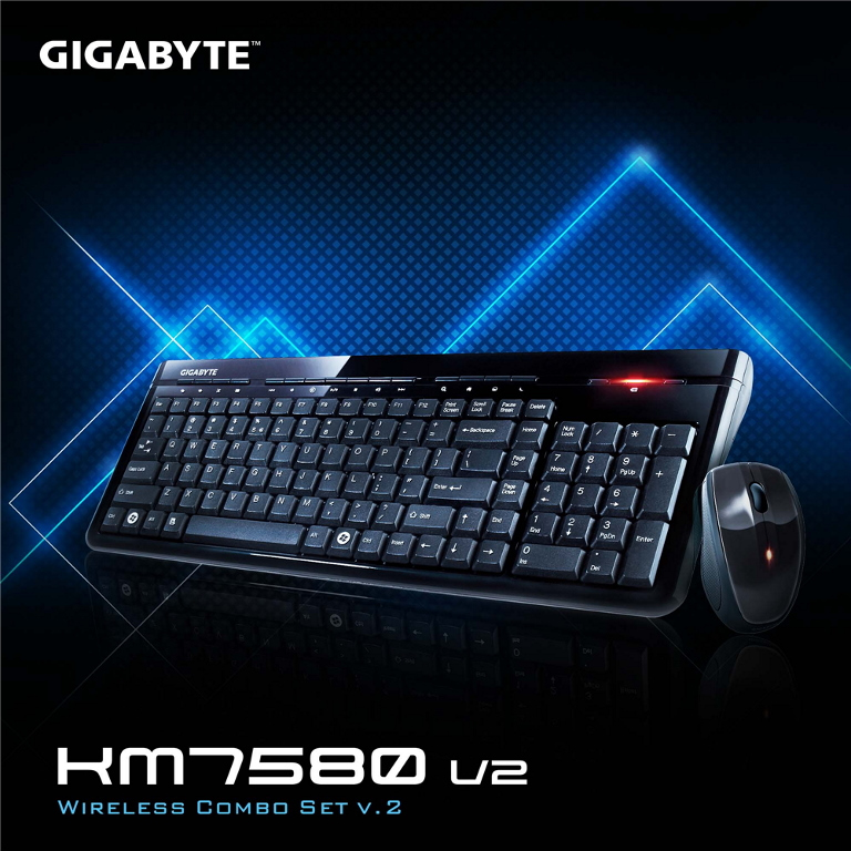 Gigabyte KM7580 V2 USB 2.4GHz Wireless Keyboard & Mouse Combo Spill Resistant 1600DPI Adjustable Portable nano receiver Stylish design comfortable gri