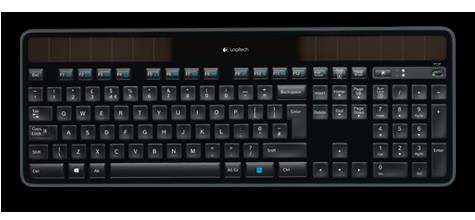 Logitech K750R 2.4GHz Wireless Solar Keyboard 1/3-inch thick, Hand friendly Logitech Solar App Plug and play simplicity Unifying receiver