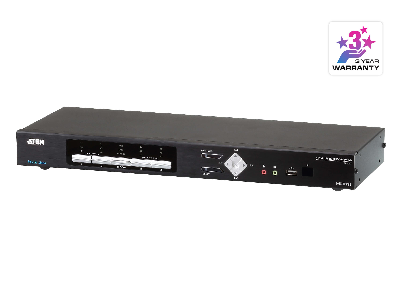 Aten 4-Port 4K HDMI Multi-View KVMP Switch,  Quad View 4 HDMI USB KVM Cables included