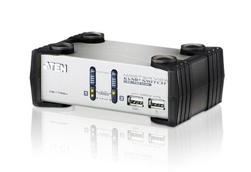 Aten 2 Port USB VGA KVMP Switch with audio, 2 VGA USB KVM Cables included