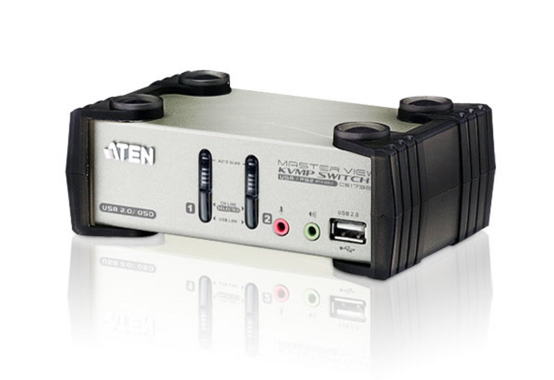 Aten 2 Port USB 2.0 VGA KVMP Switch with OSD and audio, Video DynaSync, mouse and keyboard emulation, 2 VGA USB KVM Cables included
