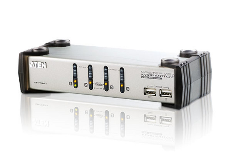 Aten 4 Port USB VGA KVMP Switch with Audio and USB 1.1 Hub - Cables Included