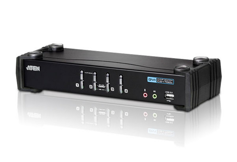 Aten 4 Port USB DVI KVMP Switch with Audio and USB 2.0 Hub - Cables Included