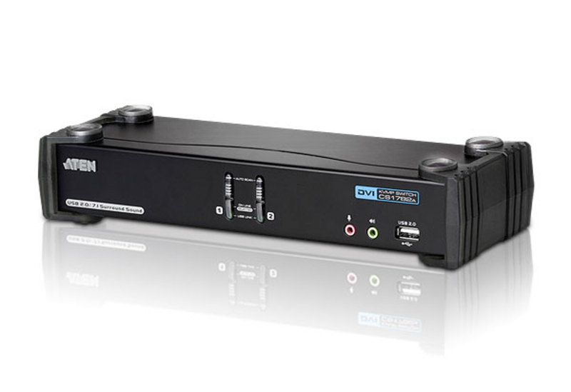 Aten 2 Port USB 2.0 DVI Dual Link KVMP Switch, supports up to 2560 x 1600 @ 60 Hz with Dual Link DVI, Video DynaSync,7.1 Audio, mouse and keyboard emu