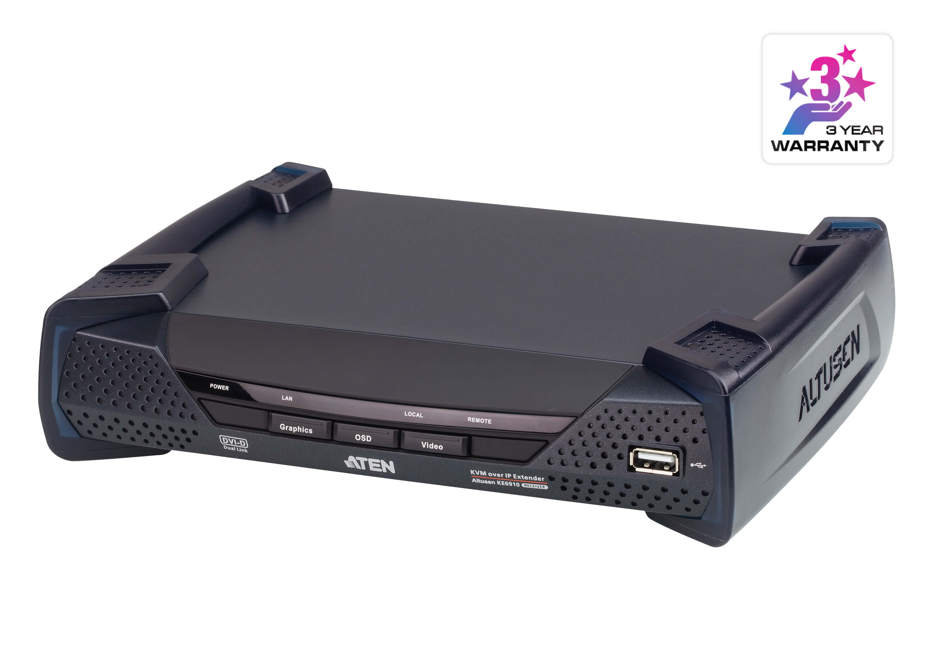 Aten DVI Dual Link KVM over IP Transmitter with Dual DC Power, supports up to 2560 x 1600 @ 60 Hz, USB and 3.5mm Audio input and Output