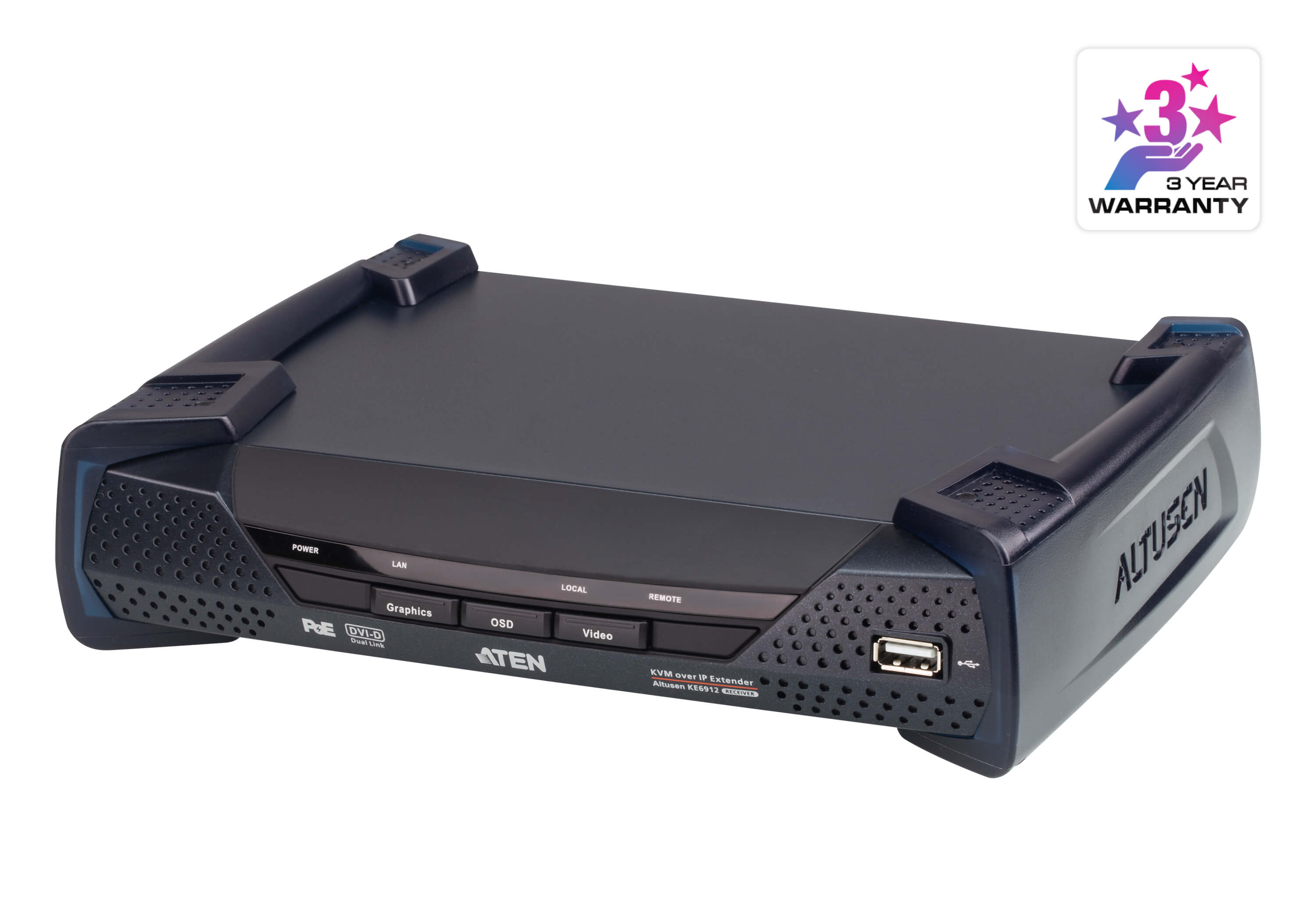 Aten DVI Dual Link KVM over IP Receiver with DC Power + Power over Ethernet support, supports up to 2560 x 1600 @ 60 Hz, USB and 3.5mm Audio