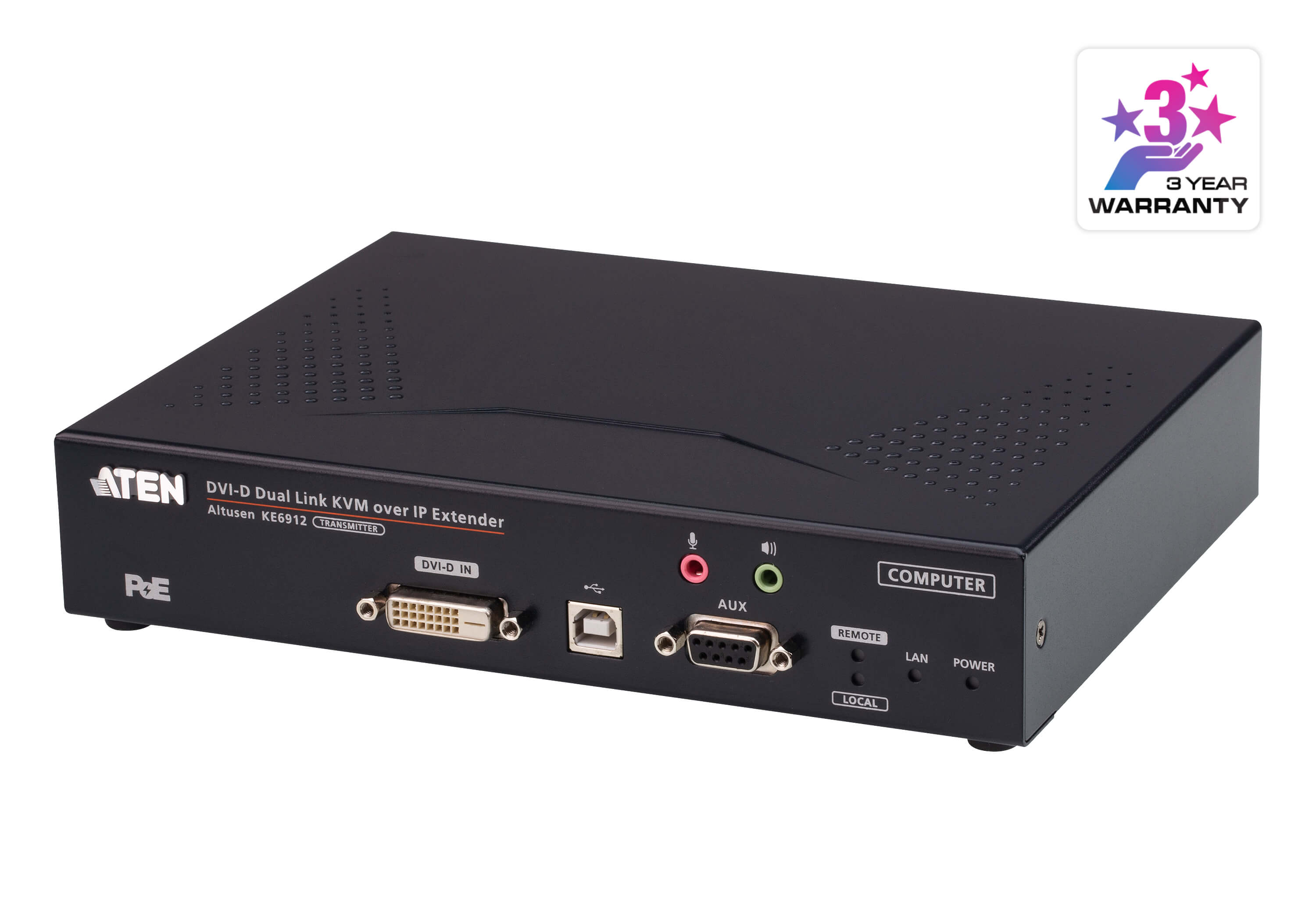 Aten DVI Dual Link KVM over IP Transmitter with DC Power + Power over Ethernet support, supports up to 2560 x 1600 @ 60 Hz, USB and 3.5mm Audio