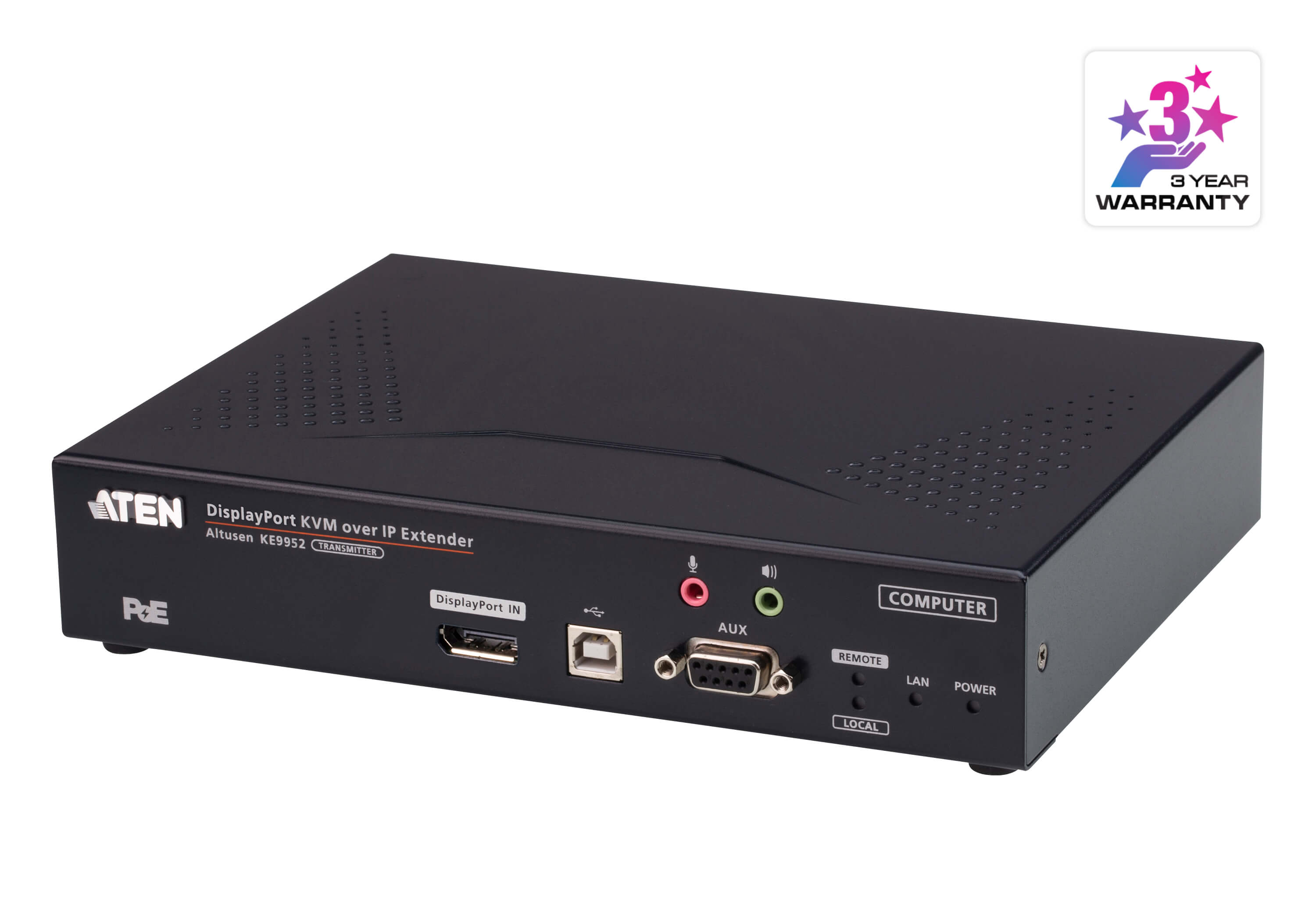 Aten 4K DP Single Display KVM over IP Transmitter with Power over Ethernet, power adapter not included