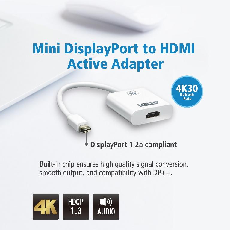 Aten Mini DisplayPort(M) to HDMI(F) Active 4K2K Adapter -Premium series with EMI Shielding