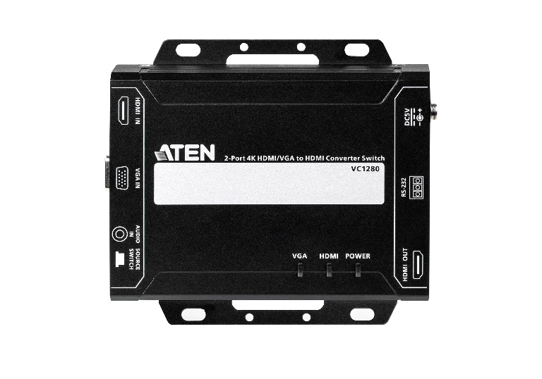 Aten 2 Port 4K 30Hz HDMI/VGA to HDMI Converter Switch, supports control via RS232 terminal, 3.5mm audio + VGA or HDMI input to HDMI output (PROJECT)