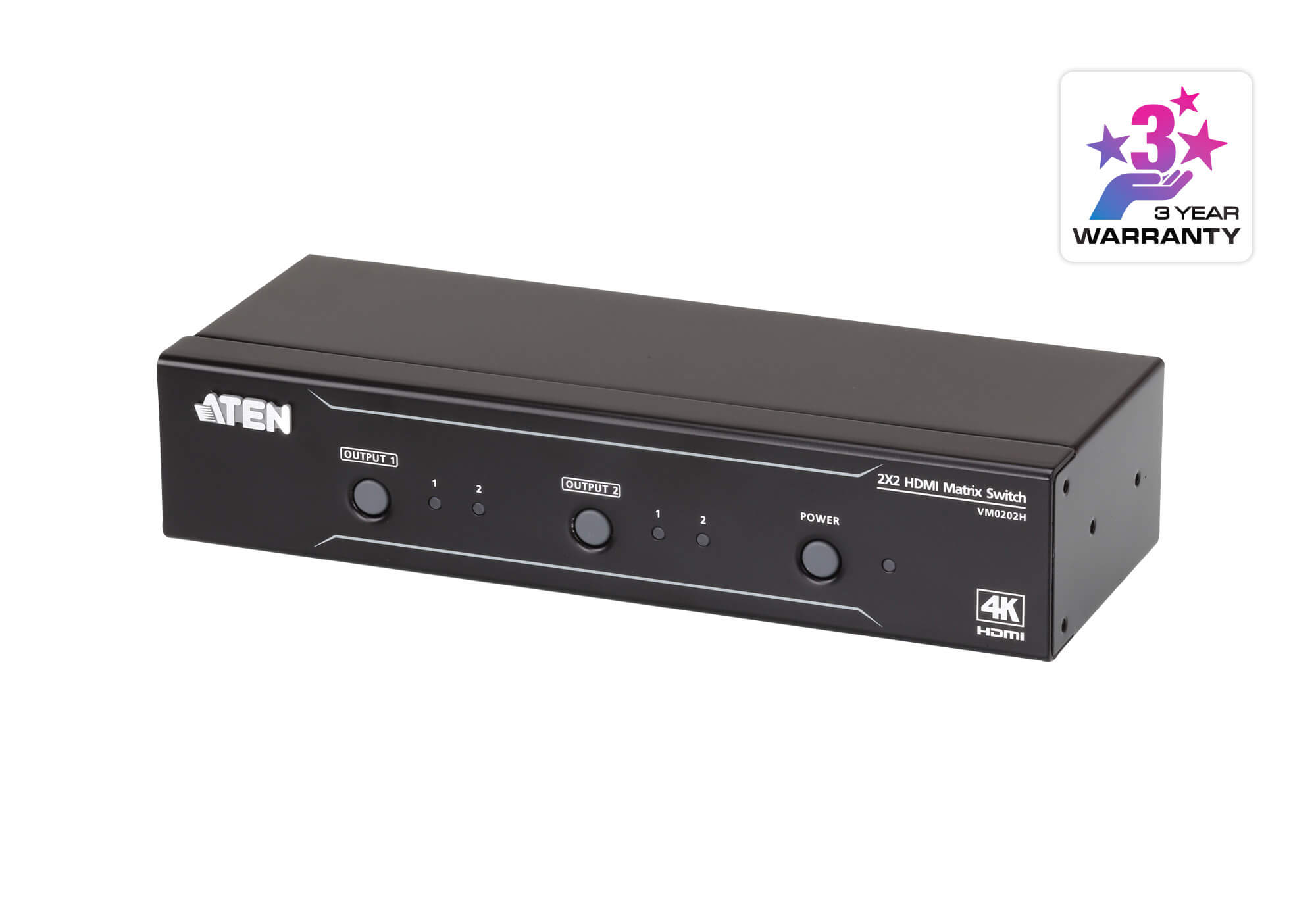 Aten 2x2 4K HDMI Matrix, control via front-panel pushbuttons, IR remote and RS232 control, EDID management