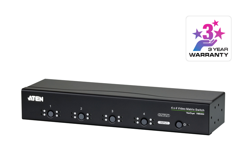 Aten VanCryst 4 in/4 Out VGA Video Matrix Switch with Audio and Serial RS-232 - up to 30m/1920x1440 (PROJECT)