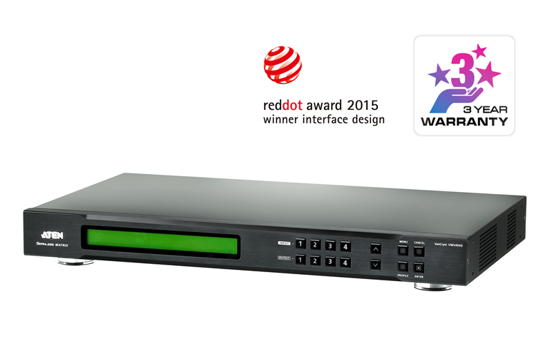 Aten 4x4 DVI Matrix with Scaler, Seamless Switch, Video Wall Support, control via front-panel pushbuttons, IR remote and RS232, EDID mngmt (PROJECT)