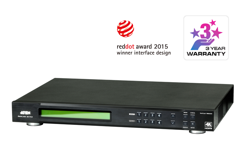 Aten 4x4 4K HDMI Matrix with Scaler, Seamless Switch, Video Wall support, control via front-panel pushbuttons, IR remote and RS232 control, EDID manag